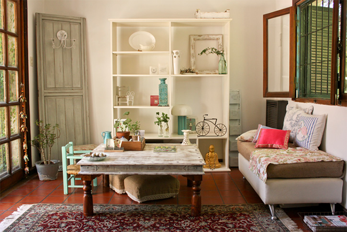 Sala decorada r stica e recheada de solu es simples for Salas pequenas y baratas
