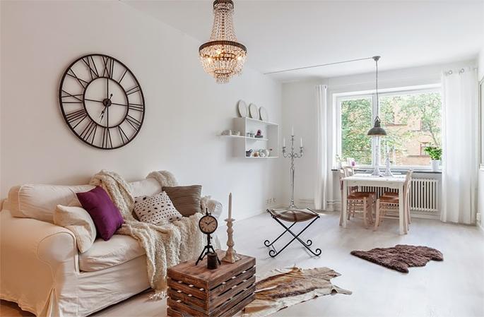 Apartamento decorado r stico buc lico e com carinha de - Relojes de salon modernos ...