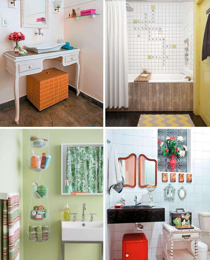 Soluções de decoração para banheiros pequenos + 24 modelos para você se inspi -> Decoracao De Banheiro Com Tecido Na Parede