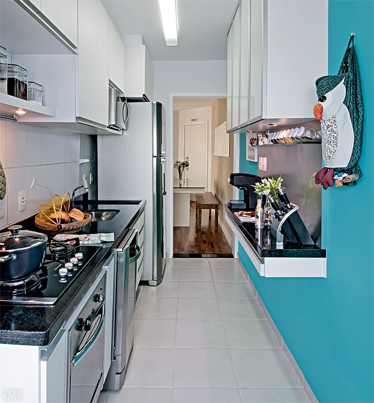 Como decorar cozinhas pequenas do tipo corredor  Casinha Arrumada # Decoracao De Cozinha Retangular