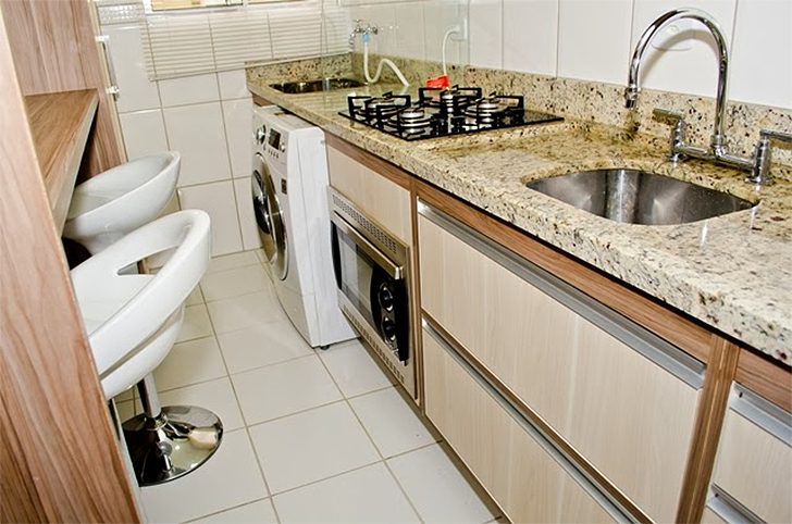 decoracao cozinha e area de servico integradas:Como decorar cozinhas pequenas do tipo corredor – Casinha Arrumada