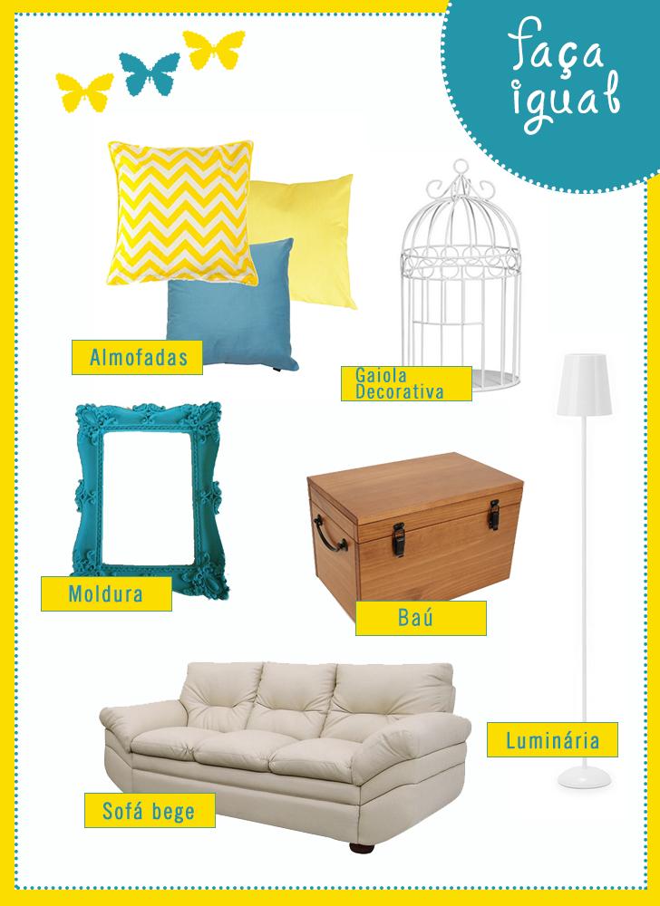 Sala De Estar Cinza Azul E Amarelo ~ Inspiração sala de estar nas cores turquesa e amarelo  Casinha