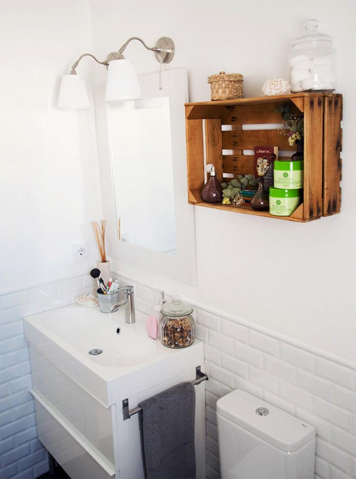 Armario Ikea Pax Blanco ~ Banheiro decorado com caixote de feira Casinha Arrumada