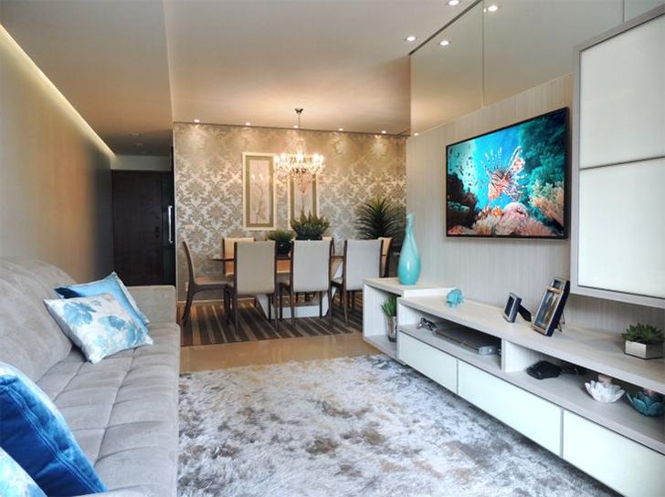Salas de estar e jantar integradas 20 fotos para voc u00ea se inspirar na decoraç u00e3o Casinha Arrumada -> Decoração De Sala De Estar E Jantar Juntas Pequena