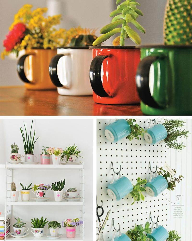 canecas na decoração 1 como vasos de flores e jardim de ervas