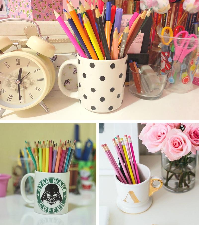 canecas na decoração 4 usando como porta lápis no home office