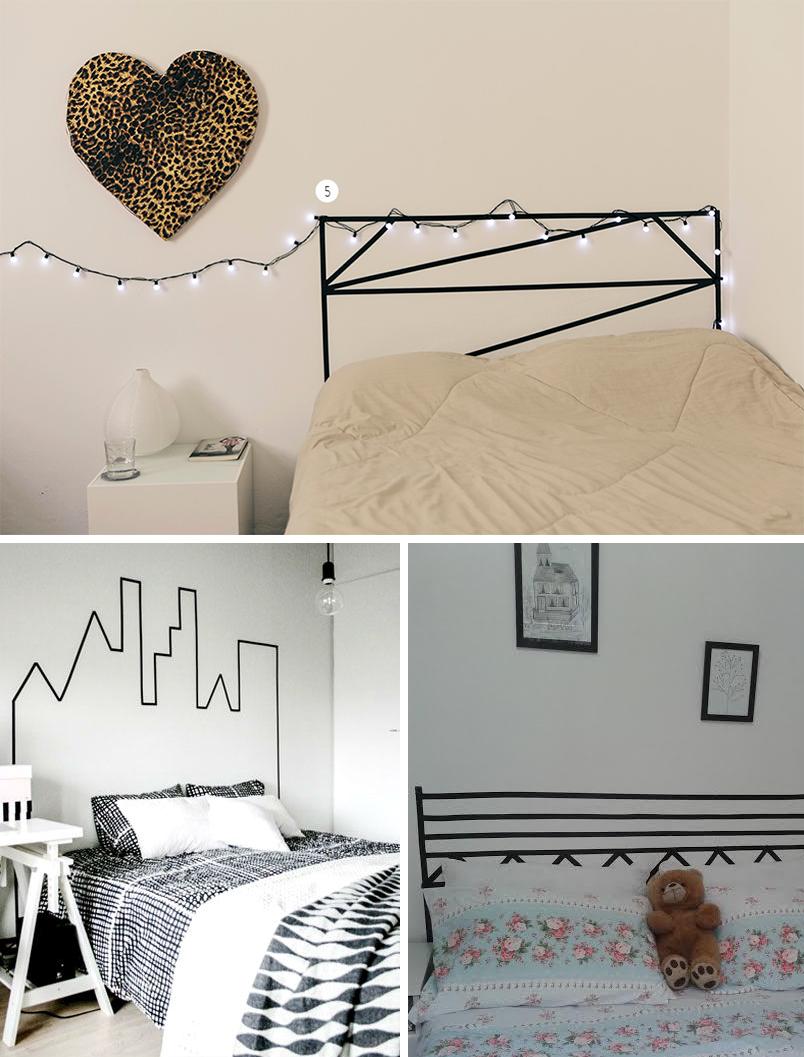 ideias para decorar a casa usando fita isolante - cabeceiras - 1