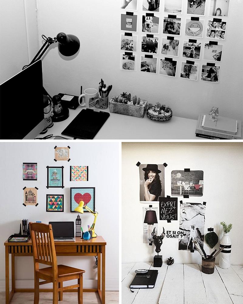ideias para decorar a casa usando fita isolante - mural de fotos - 4