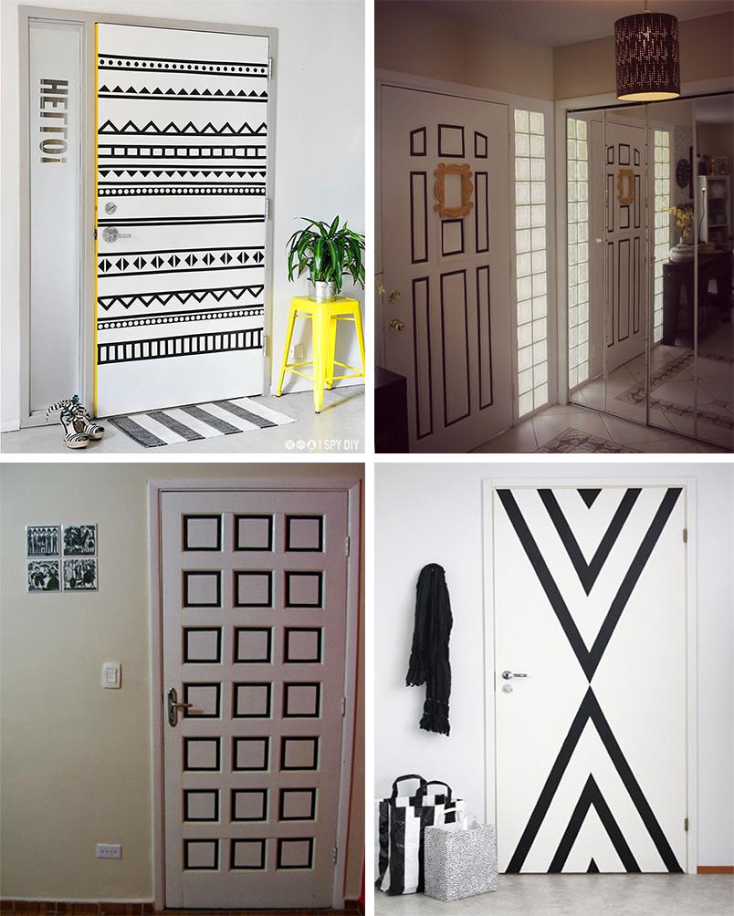 ideias para decorar a casa usando fita isolante - portas - 2
