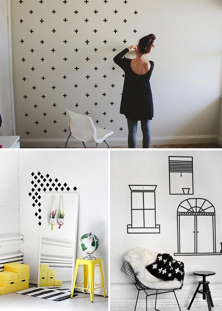 4 ideias para decorar a casa usando fita isolante for Pintar paredes casa