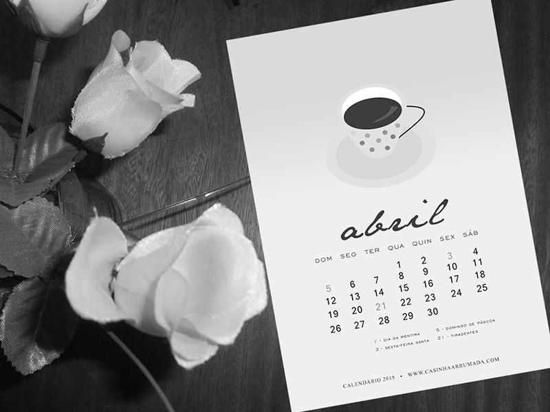 Calendário de Abril Casinha Arrumada Para Baixar