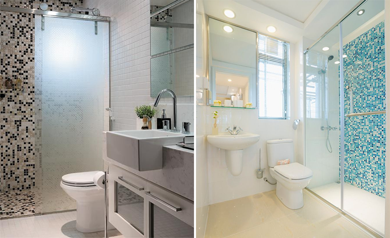 Como usar pastilhas na decoração  Casinha Arrumada -> Banheiro Com Faixa De Pastilha Vertical