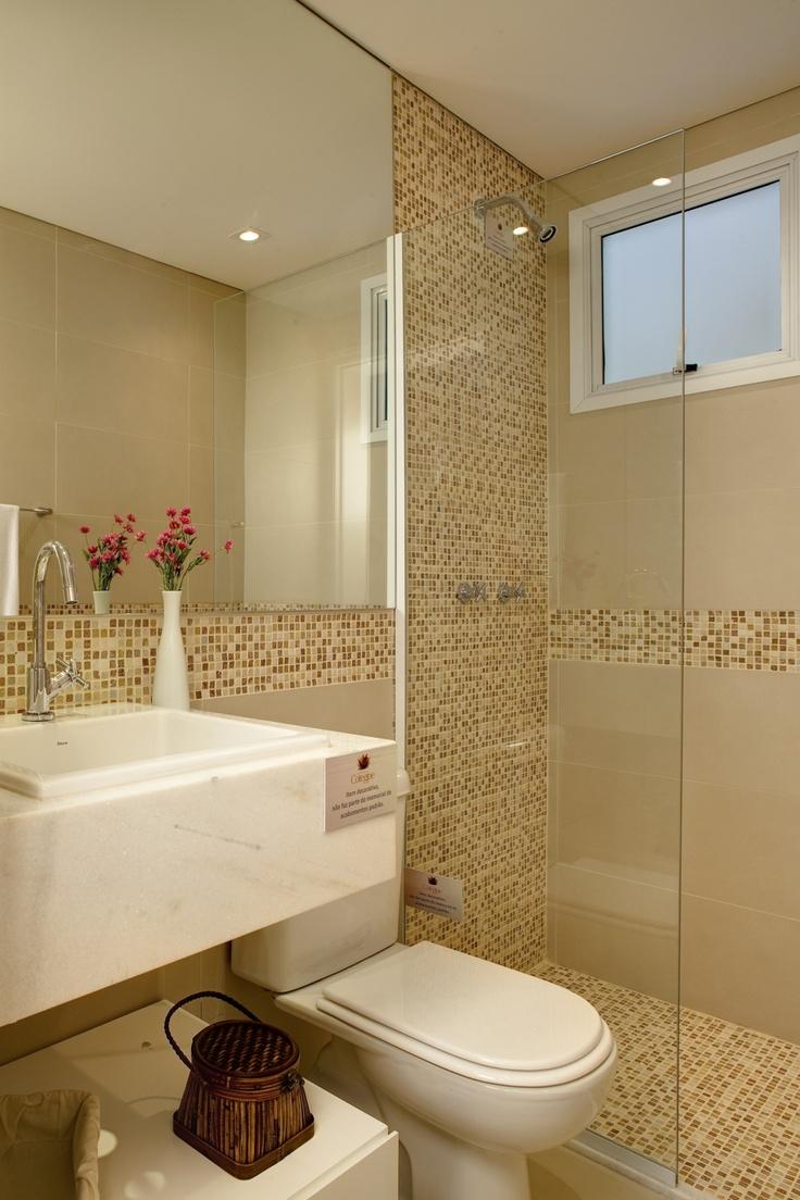 Como usar pastilhas na decoração  Casinha Arrumada -> Banheiro Com Azulejo Pastilha