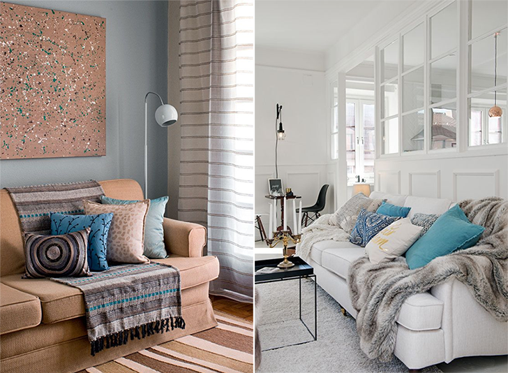 Para deixar a sua casa mais quentinha mantas para o sof for Sala de estar com um sofa