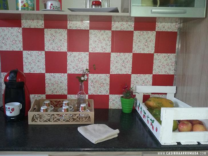 Decorando a parede da cozinha com papel contact  Casinha Arrumada # Azulejo Cozinha Com Papel Contact