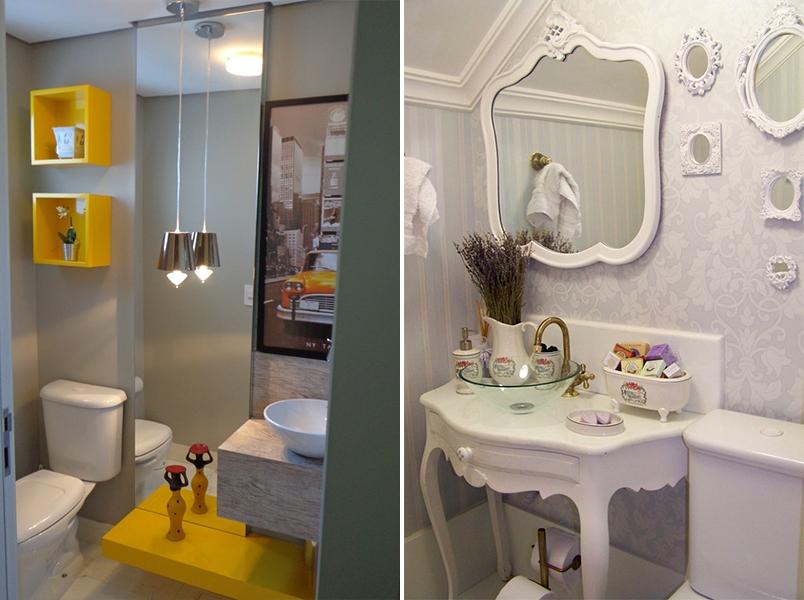 Como decorar lavabos pequenos 15 modelos inspiradores  Casinha Arrumada -> Como Decorar Banheiro De Forma Barata