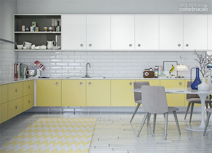 cozinha planejada retrô com armários brancos e amarelos