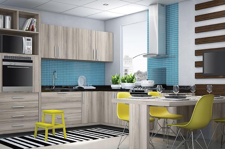 cozinha planejada armários de madeira e pastilhas azuis