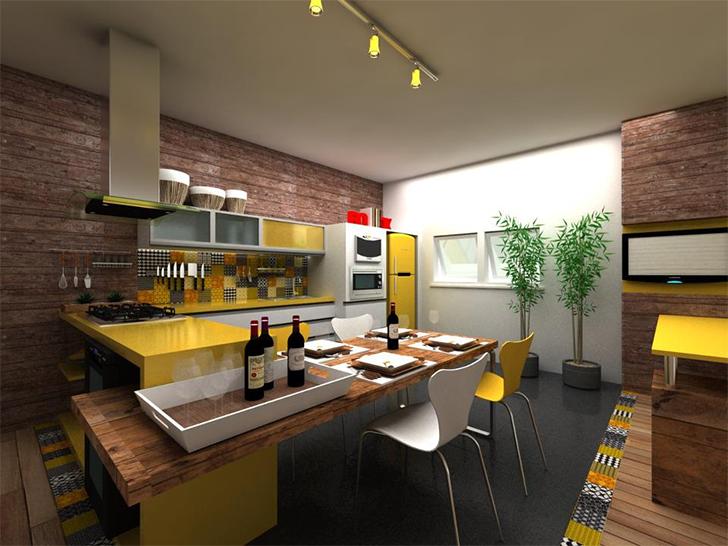 cozinha planejada com laca amarela e ilha
