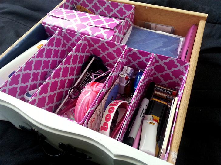 organizador de gavetas com caixas de cereal 2