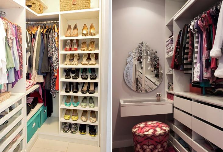 como planejar decorar e organizar um closet pequeno