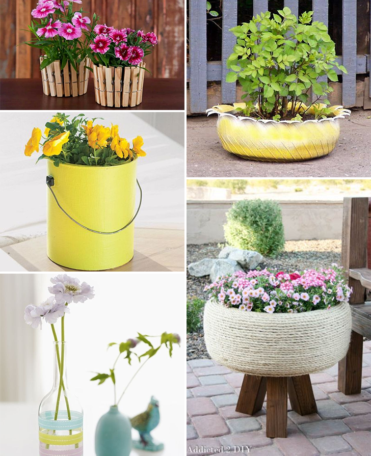 diy vaso de flor feito com materiais reciclados 2