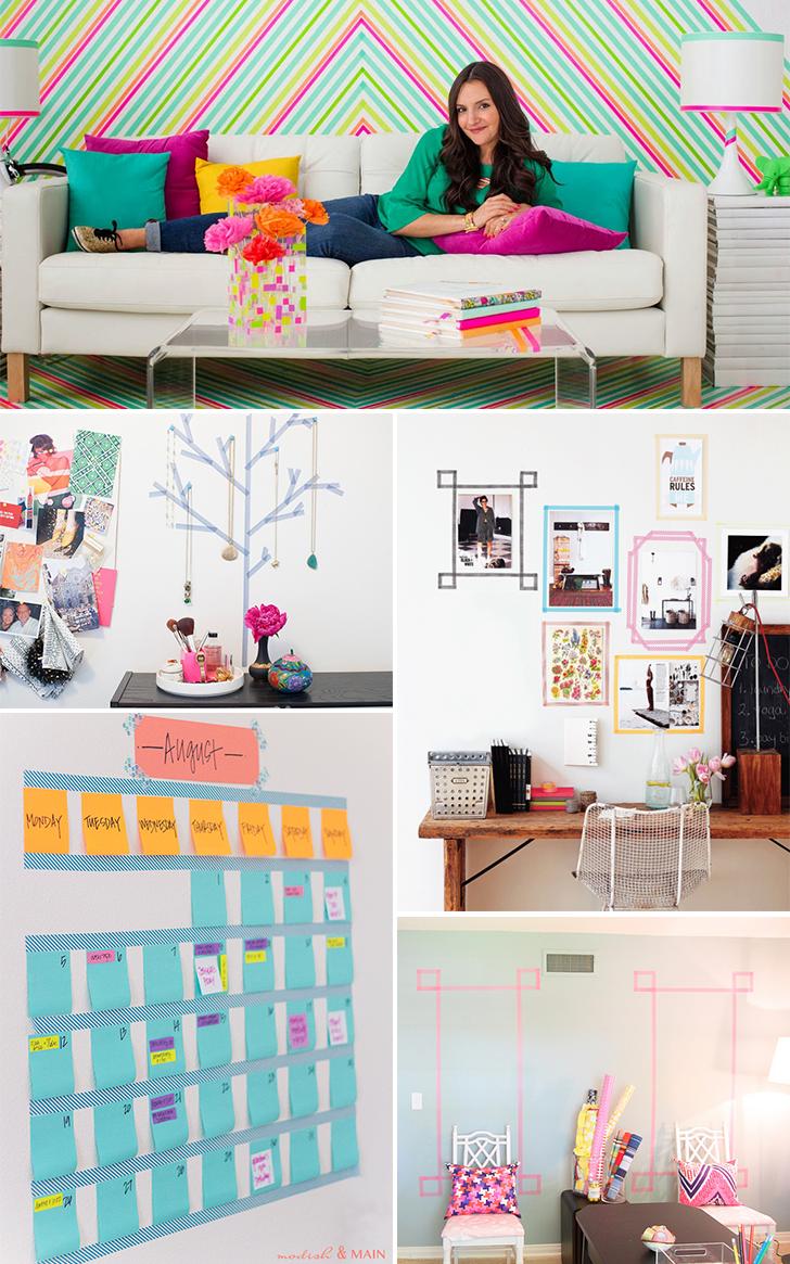 ideias para decorar usando washi tape 1 - washi tape na parede