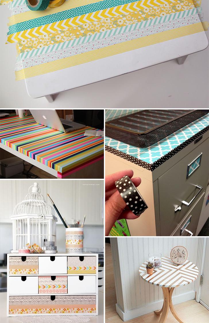 ideias para decorar usando washi tape 2 - washi tape nos móveis