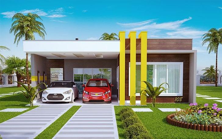 15 fachadas de casas t rreas para voc se inspirar dicas for Decoracion casa 50m2