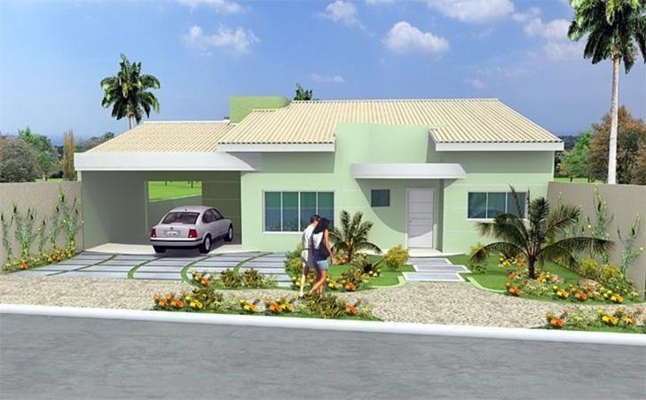 15 fachadas de casas t rreas para voc se inspirar dicas - Pintar fachada casa ...