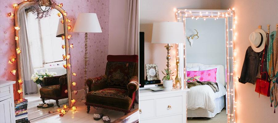 luzes pisca-pisca na decoração 5 - espelhos