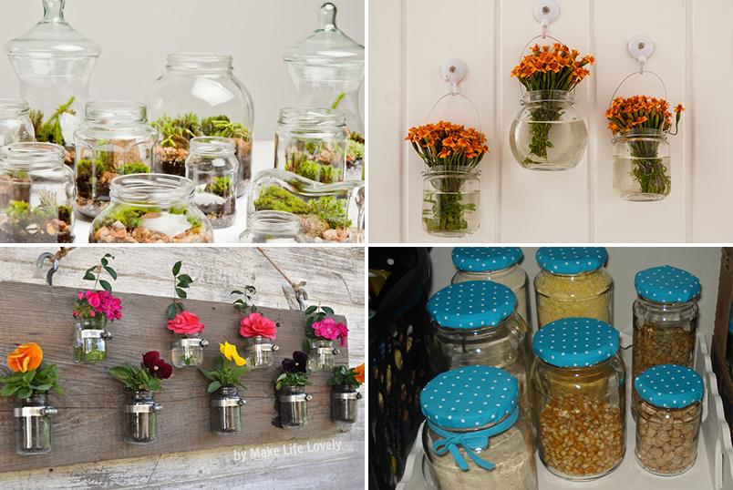 decoração com reciclagem de potes de vidro 3