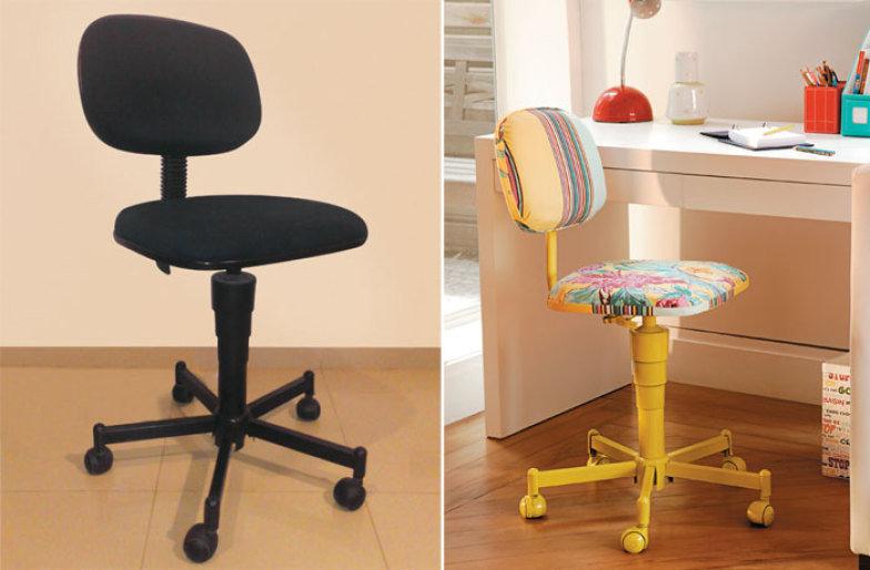 reformar móveis antigos cadeira de escritório reformada