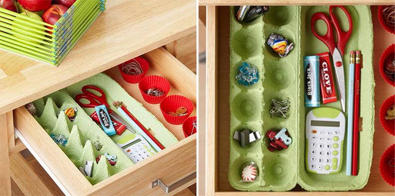 Divisórias de gaveta feitas com caixas de ovo