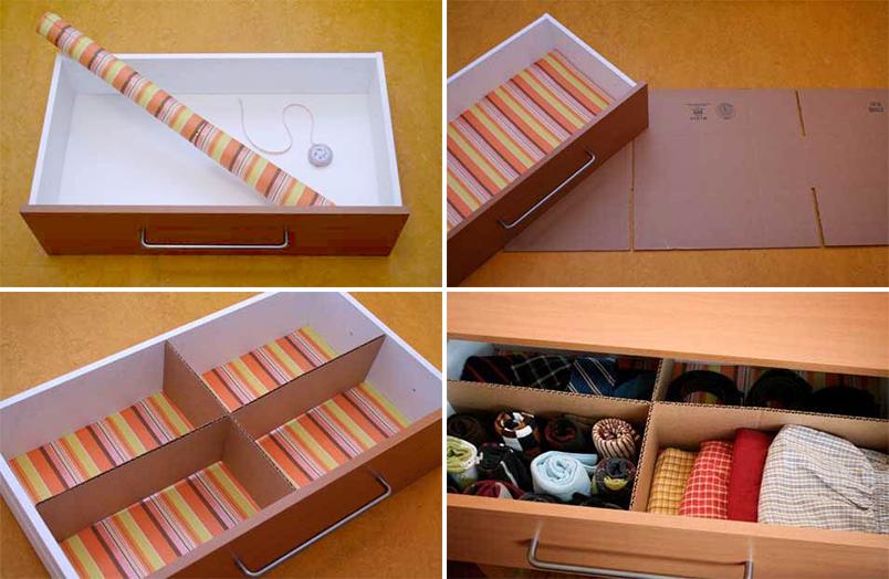 Divisórias de gaveta feitas com papelão