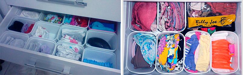 Divisórias de gaveta feitas com potes de sorvete