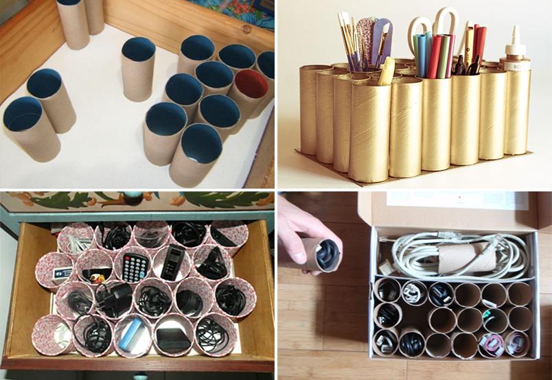 Divisórias de gaveta feitas com rolos de papel higiênico