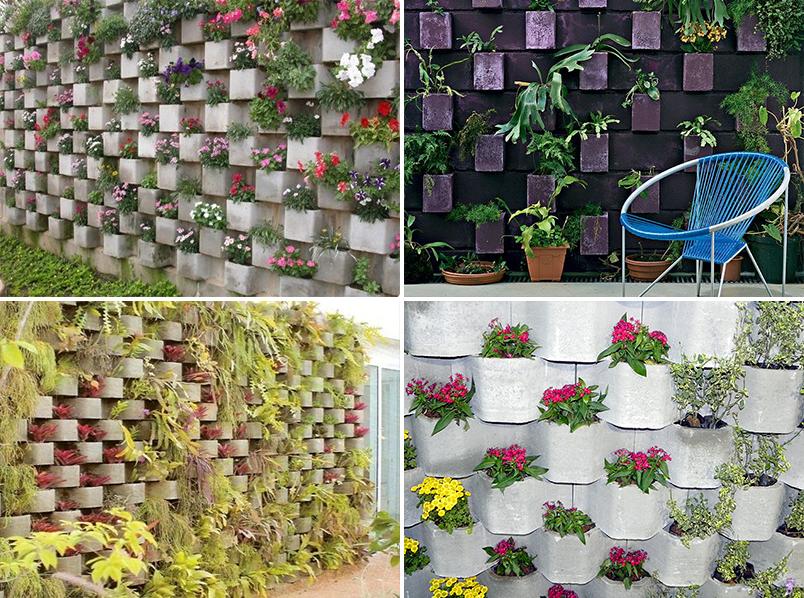 ideias baratas para jardim vertical : ideias baratas para jardim vertical:JARDIM VERTICAL DE BLOCOS DE CONCRETO PRÉ-MOLDADOS