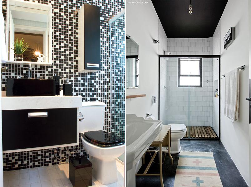 Cores na decoração banheiro preto e branco  Casinha Arrumada # Decoracao De Banheiro Branco E Preto
