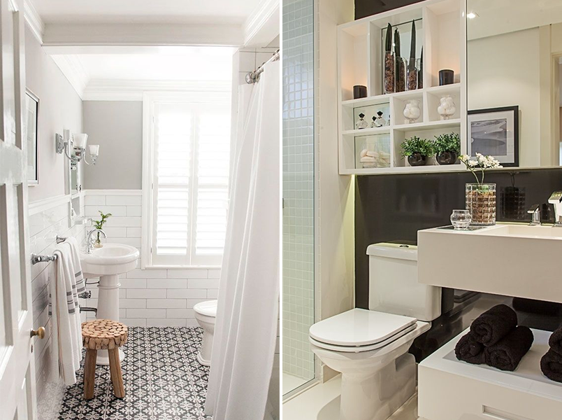 Cores na decoração banheiro preto e branco  Casinha Arrumada -> Decoracao De Banheiro Na Cor Cinza