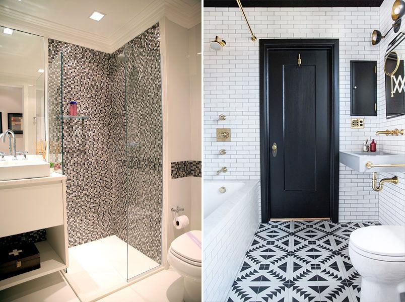 Cores na decoração banheiro preto e branco  Casinha Arrumada -> Banheiro Pequeno Com Porcelanato Preto