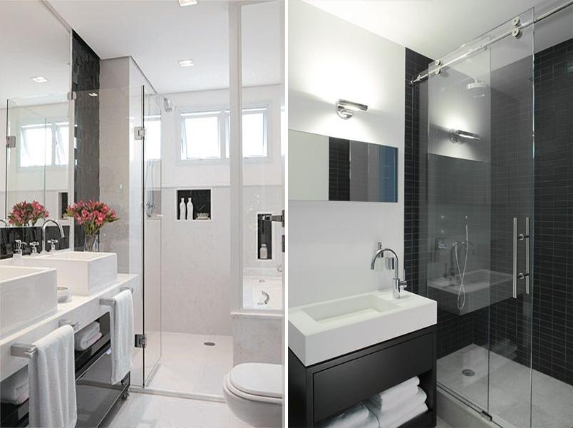 Cores na decoração banheiro preto e branco  Casinha Arrumada -> Banheiro Decorado Escuro