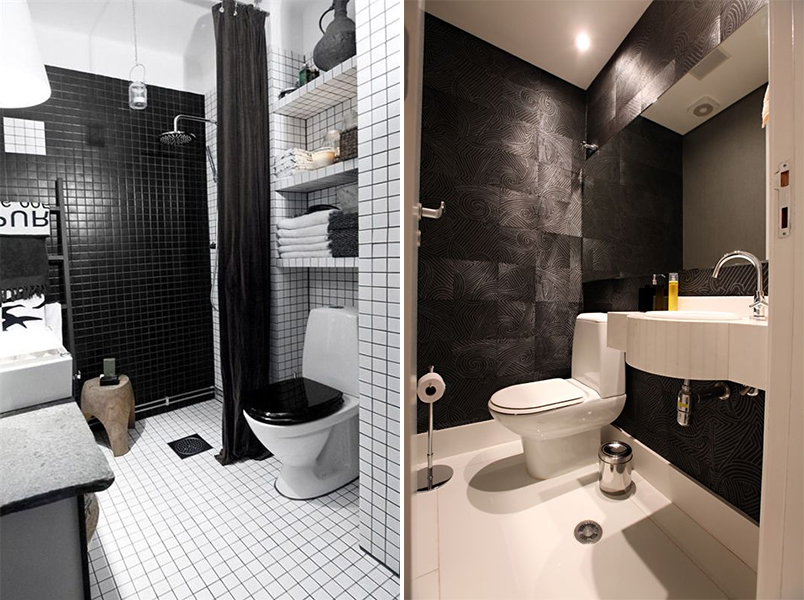 Cores na decoração banheiro preto e branco  Casinha Arrumada -> Banheiro Planejado Preto