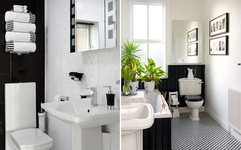 Cores na decoração banheiro preto e branco  Casinha Arrumada -> Decoracao De Banheiro Preto E Branco Com Pastilhas