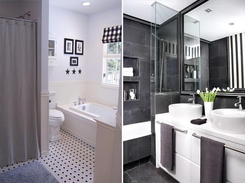 Cores na decoração banheiro preto e branco  Casinha Arrumada -> Banheiros Modernos Em Preto E Branco