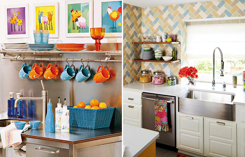 Cozinhas pequenas coloridas