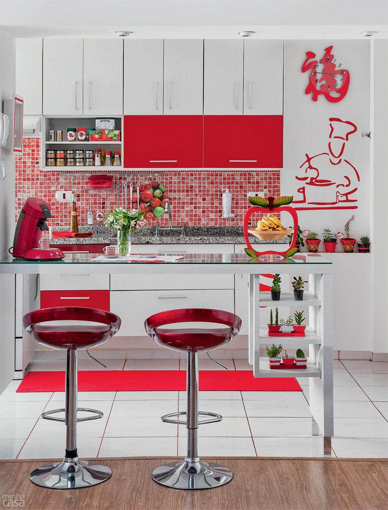 Artesanato Para Decorar Quarto De Bebe ~ Cores na decoraç u00e3o cozinha vermelha Casinha Arrumada
