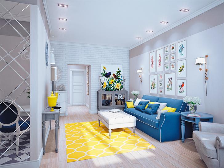 cores na decoração sala amarela 1