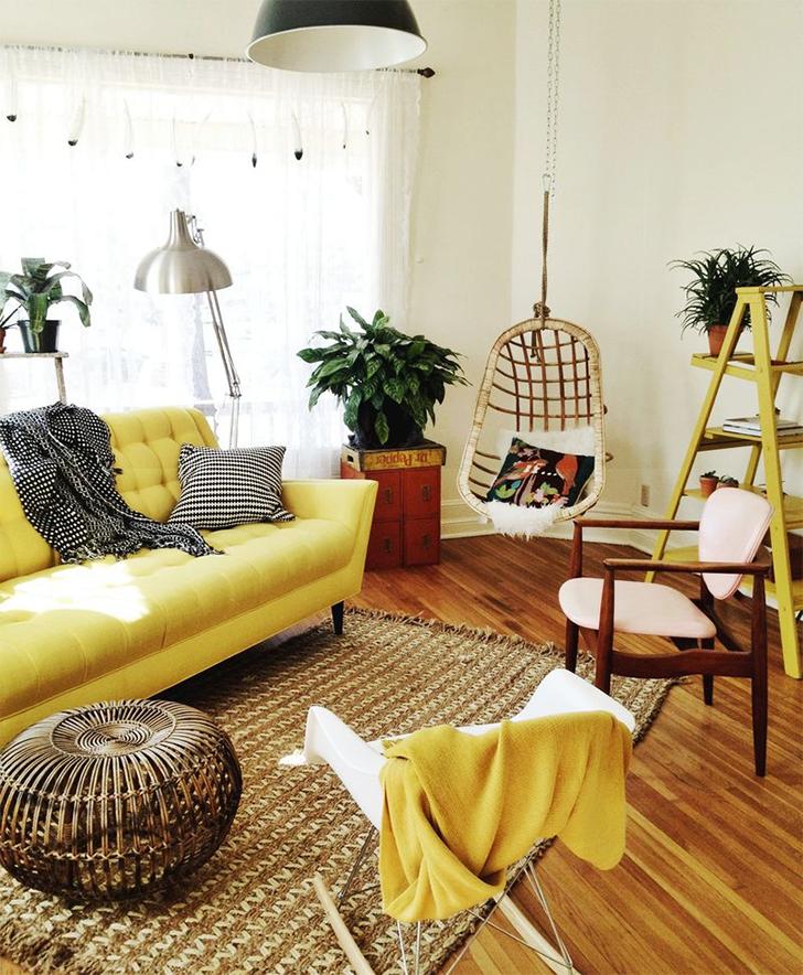 cores na decoração sala amarela 4