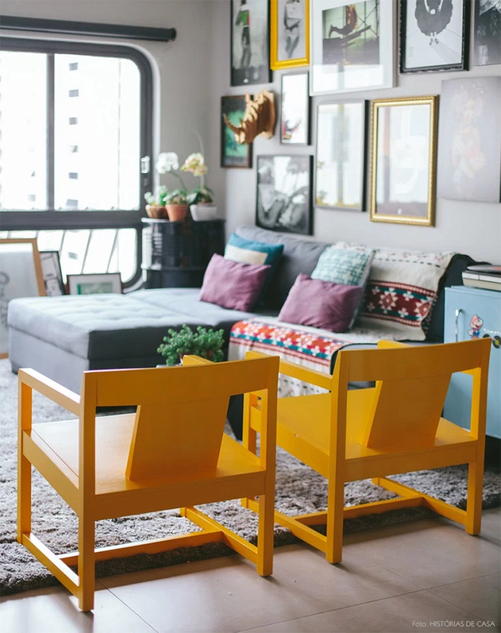 cores na decoração sala amarela 7